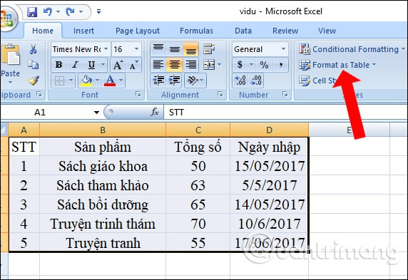 kẻ bảng trong excel-1