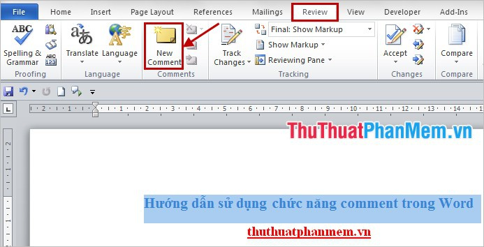 tạo comment trong word-1